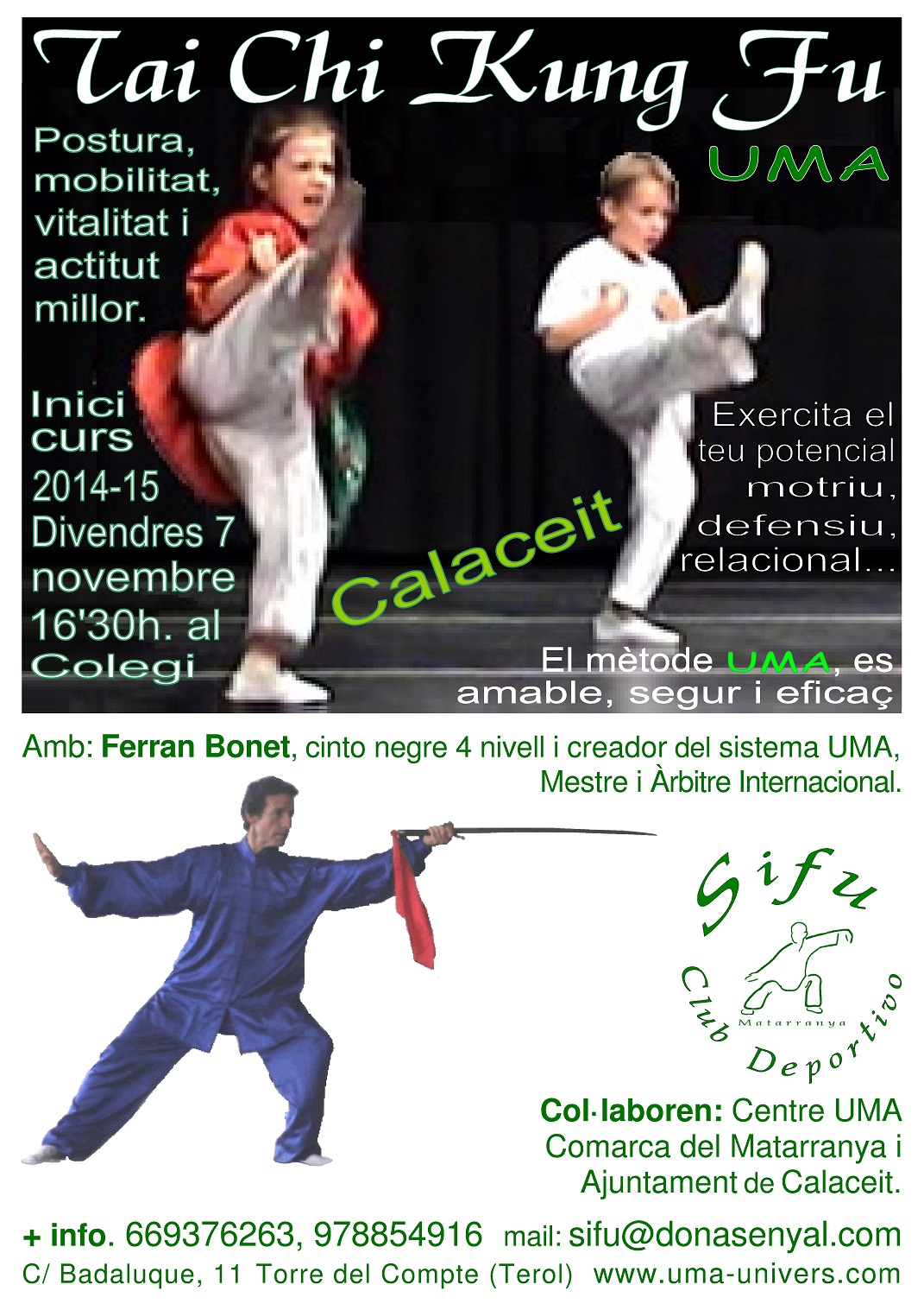 INICI CLASSES KUNG FU UMA CALACEIT 2014-15 X FACEBOOK