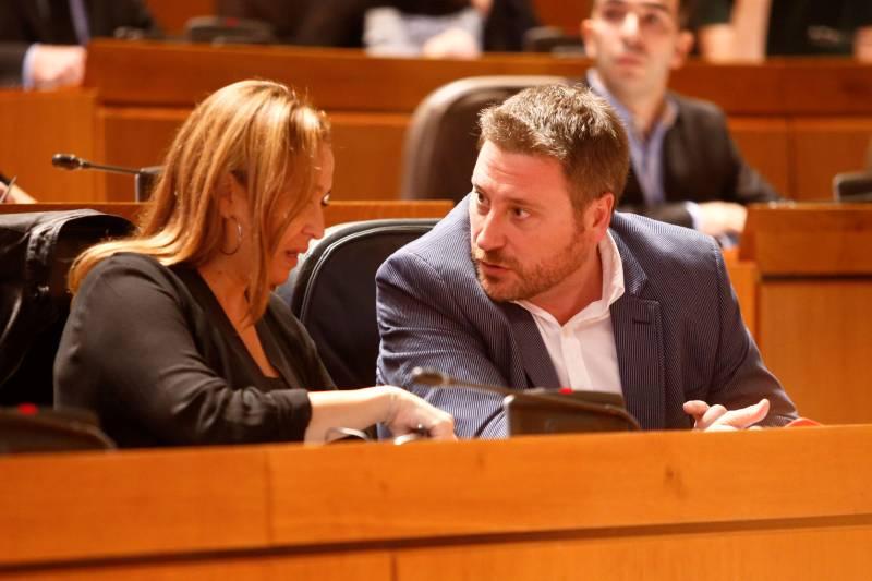 Mayte Pérez y José Luis Soro, como líder de CHA, centraron las críticas del PP. - NURIA SOLER