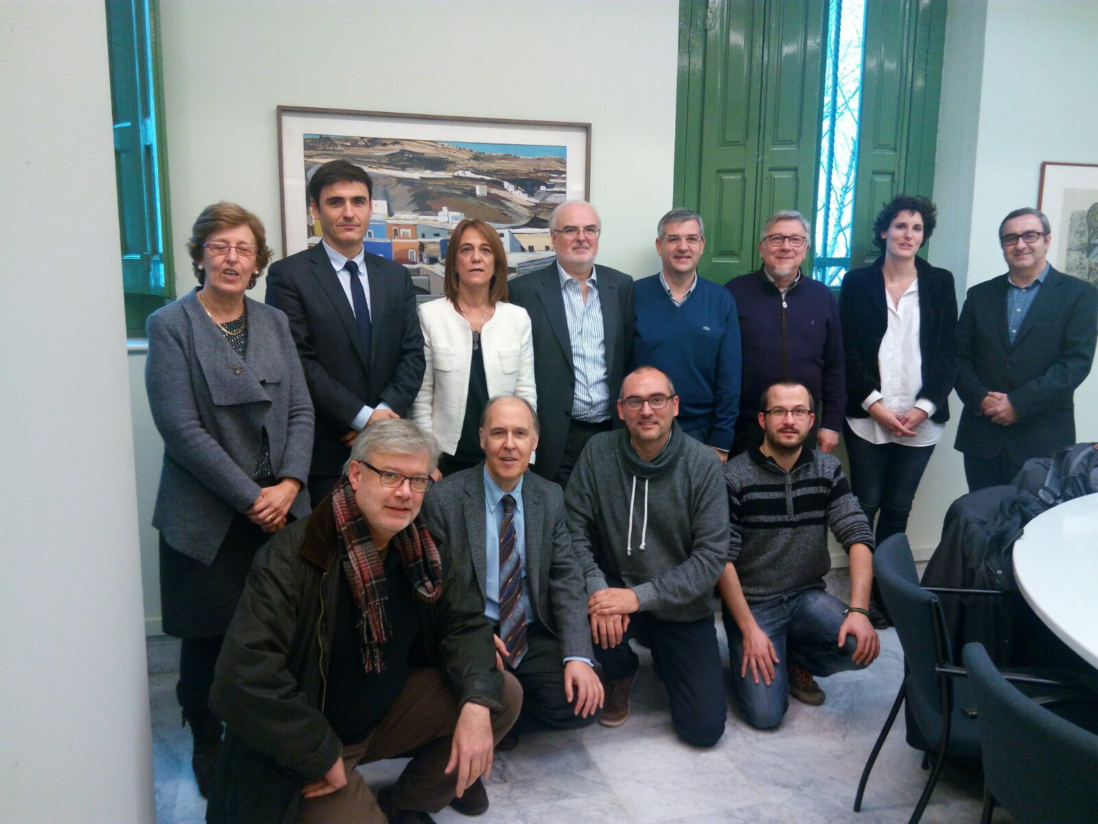 Participantes en la reunión entre DGA, Generalitat catalana, y universidades.