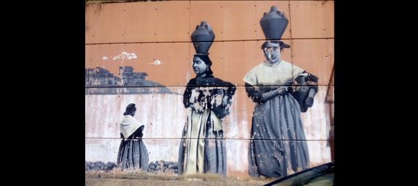 Mural a l'entrada de Fraga per la carretera del Cinca. Foto: M.I.