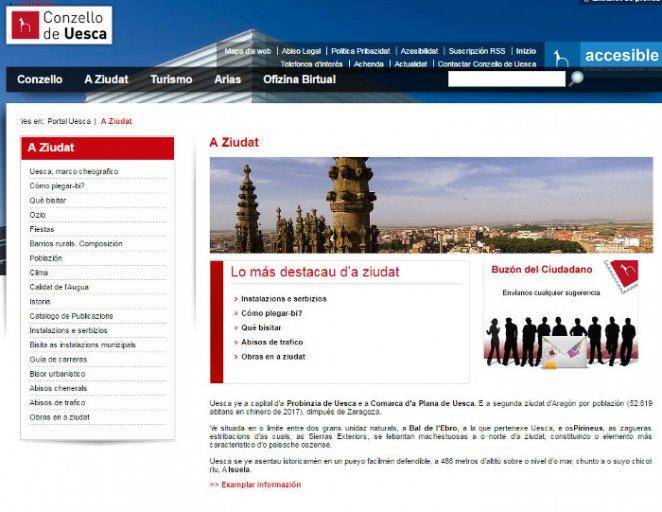 Web Ayuntamiento de Huesca en aragonés