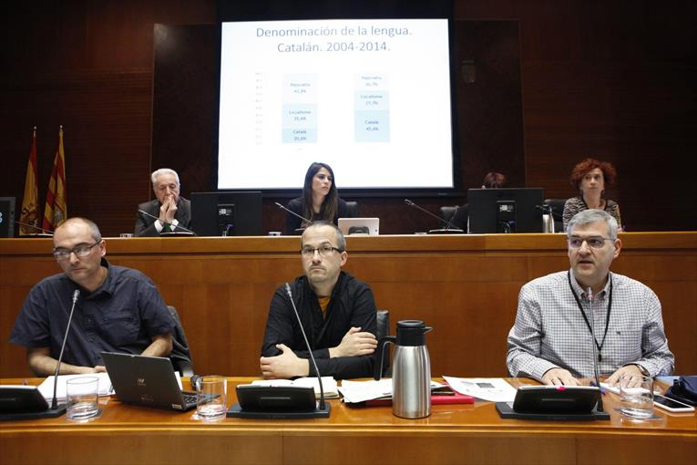 Los integrantes del Seminario Aragonés de Sociolingüística, ayer, en las Cortes. - CORTES DE ARAGÓN