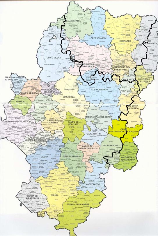 Mapa actual dels dominis linguistics català i aragonès. Font Rolde de Estudios Aragoneses