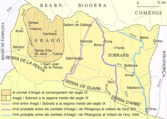 Mapa d'Aragó (segles IX i X). Font Enciclopčdia