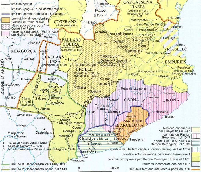 Mapa de l'expansió política dels comtats catalans (segles IX a XII). Font Enciclopedia