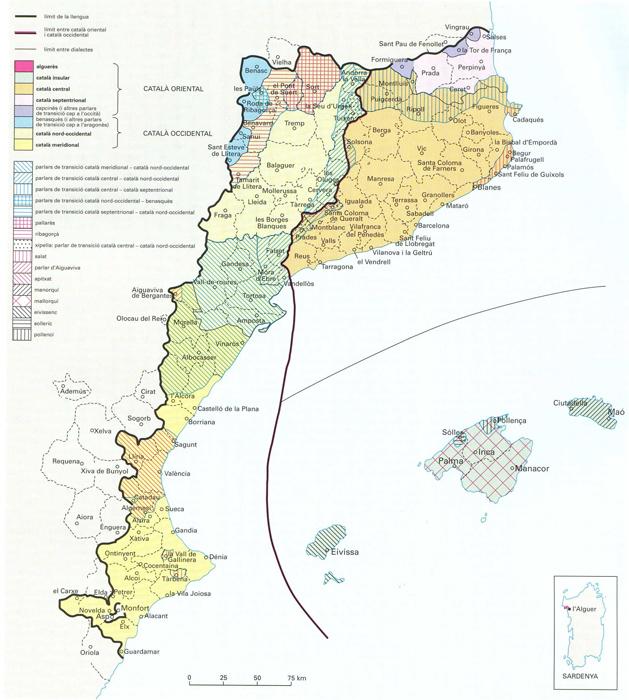 Mapa del domini lingüistic del catalą. Font Enciclopčdia