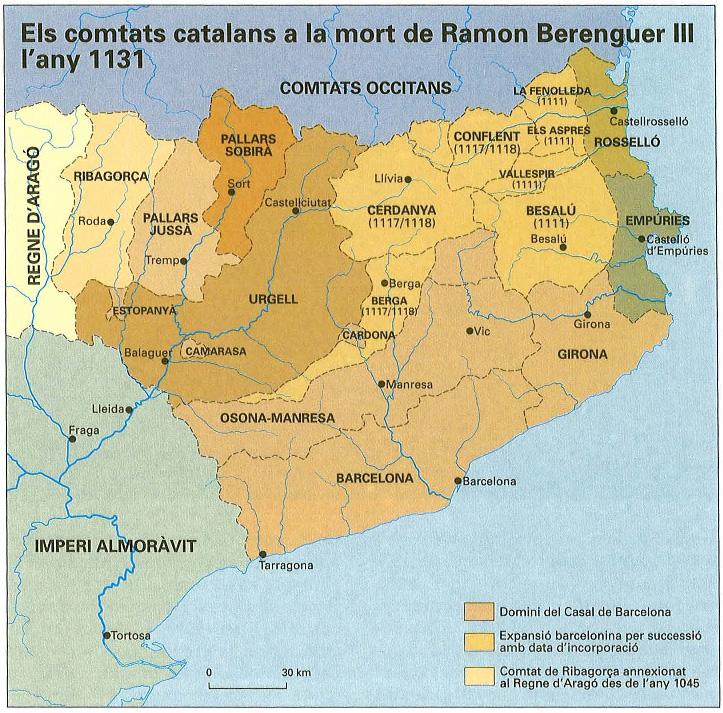 Mapa dels comtats catalans a principis del segle XII. Font Enciclopčdia